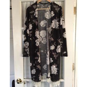 Black and white floral kimono duster sweater.